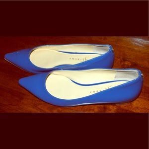 Ivanka Trump Annulio Flats in blue patent leather